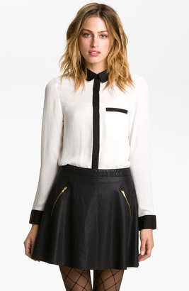 Free People Contrast Trim Shirt