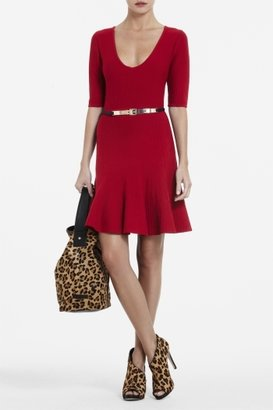 BCBGMAXAZRIA Allie Short-Sleeve A-Line Sweater Dress