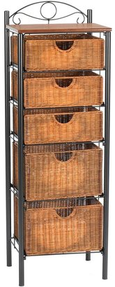 Southern Enterprises Iron and Wicker Narrow Storage Cabinet
