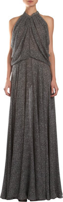 Derek Lam Abstract Chevron Print Gathered Overlay Gown