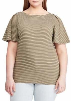 Lauren Ralph Lauren Plus Striped Cotton Jersey Top