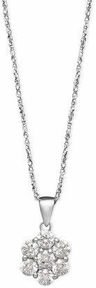 Arabella 14k White Gold Necklace, Swarovski Zirconia Round Pave Pendant (1-3/8 ct. t.w.)