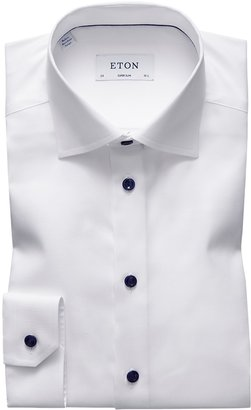 Eton White Twill Shirt - Navy Details - Super Slim Fit