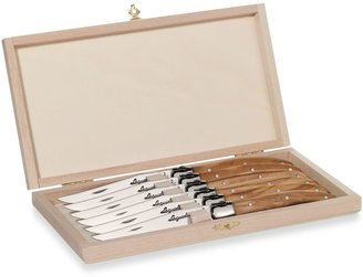 Laguiole 6-Piece Steak Knife Set with Olive Wood Handles and Wood Claps Storage Box