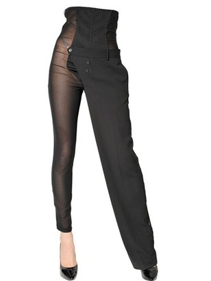 Jean Paul Gaultier Tulle And Stretch Wool Trousers