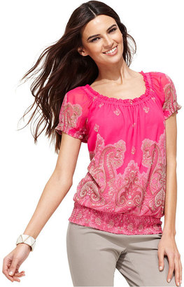 INC International Concepts Petite Top, Short-Sleeve Paisley-Print Peasant