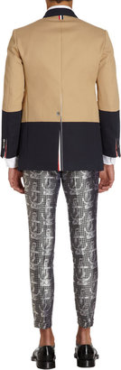 Thom Browne Colorblock Twill Chapel Overcoat