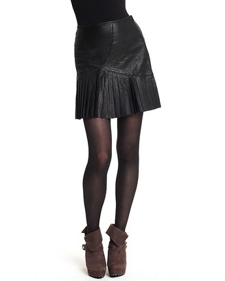 Catherine Malandrino Pleated Leather Skirt