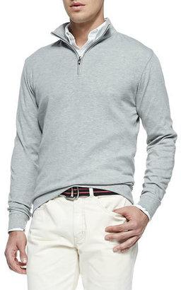 Peter Millar Cotton 1/2-Zip Pullover, Light Gray $125 thestylecure.com