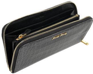 Miu Miu Croc-effect glossed-leather wallet