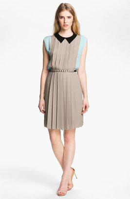 L'Agence Pleated Colorblock Dress