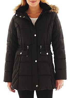 Liz Claiborne 3/4-Length Puffer Jacket with Faux-Fur Hood
