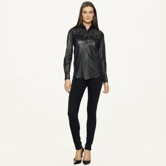 Ralph Lauren Black Label Denim Studded Leather Western Shirt
