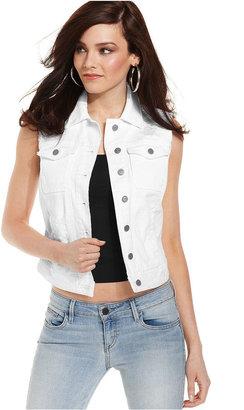 GUESS Vest, Sleeveless White-Wash Destroyed Denim
