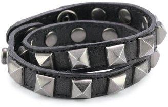 Rebecca Minkoff Double Wrap Pyramid Stud Black Bracelet