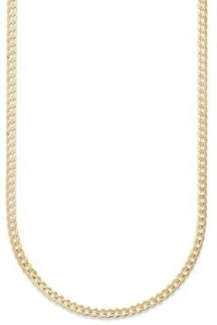"""Italian Gold Curb Chain 22"""" Necklace (3-3/5mm) in Solid 14k Gold"""