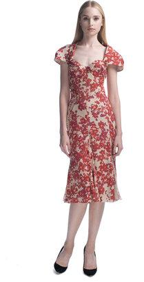 Zac Posen Hibiscus Printed Chiffon Cocktail Dress