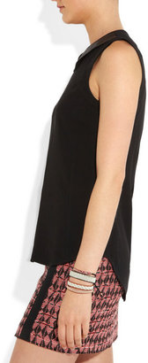 Rag and Bone Rag & bone Astrid leather-trimmed crepe top