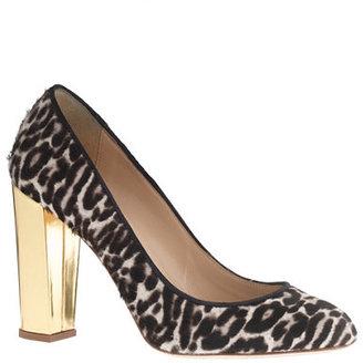 J.Crew Collection Etta gold-heel calf hair pumps