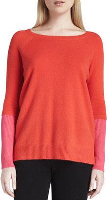 Neiman Marcus Cashmere Colorblock Raglan-Sleeve Sweater