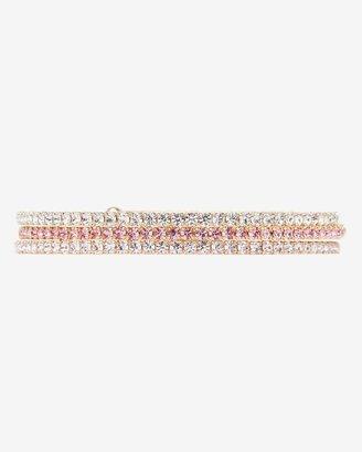 Lisa Freede Pink Gold Laser Cut Crystal Stretch Bracelets