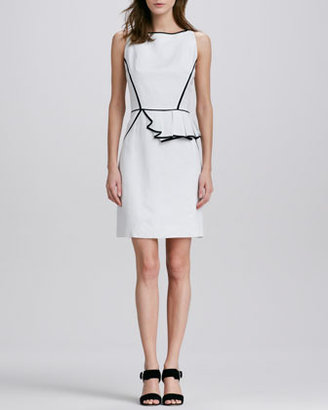 Milly Ella Asymmetric Contrast-Trim Dress