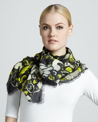 McQ by Alexander McQueen Butterfly Camo Printed Scarf