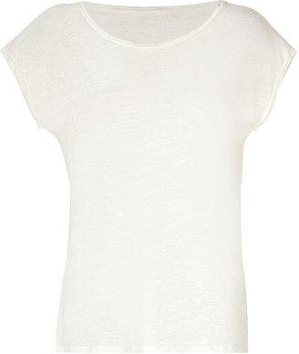 Majestic Pearl Linen-Silk Scoop-Neck T-Shirt