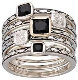 Lord & Taylor Sterling Silver Onyx & Diamond Ring