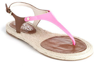 KORS Stephy Leather T-Strap Sandals
