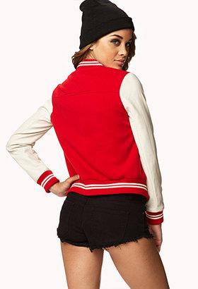 Forever 21 Faux Leather Sleeve Varsity Jacket