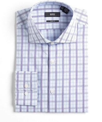 HUGO BOSS Plaid Sharp-Fit Dress Shirt