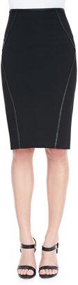 Donna Karan Leather-Trim Pencil Skirt