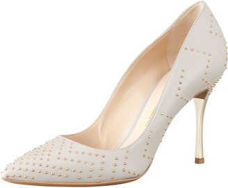 Nicholas Kirkwood Studded Point-Toe Metal-Heel Pump, Gray