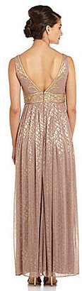 Adrianna Papell Illusion V-Neck Gown