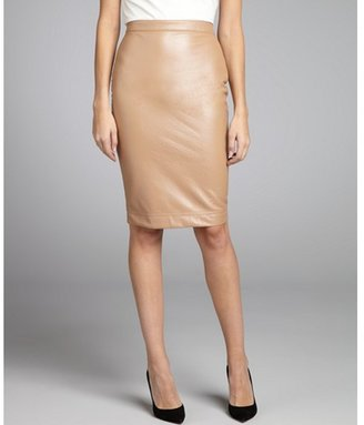 Robert Rodriguez ginger pebbled faux-leather pencil skirt