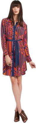 Trina Turk Geo Print Silk Shirt Dress