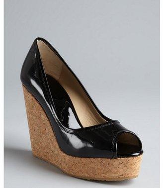 Jimmy Choo black patent leather peep toe 'Papina' cork platform wedges