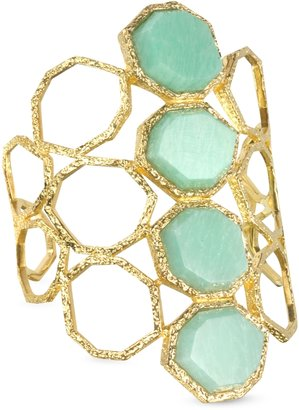 Isharya Green Amozonite Goddess Honeycomb Cuff