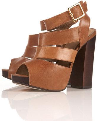 Topshop LIVIA Tan Platform Sandals
