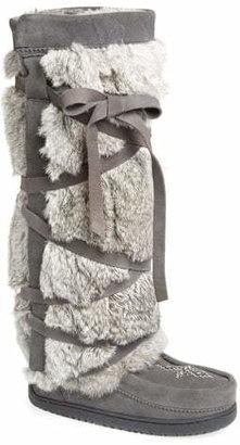 Manitobah Mukluks Genuine Rabbit Fur Tall Wrap Boot