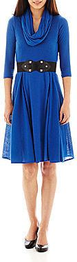 Robbie Bee Infinity Scarf Belted Sweater Dress - Petite
