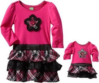 Dollie & Me Girls 2-6X Long Sleeve Tier Dress With Matching Doll Garment
