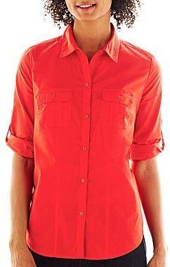 JCPenney St. John's Bay Roll-Sleeve Camp Shirt