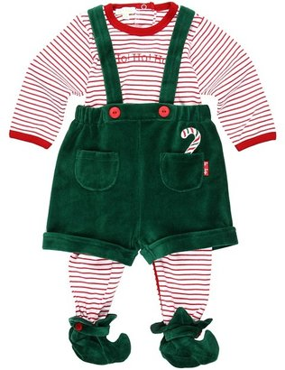 Le Top Elves Footed Coverall Elf Short (Newborn) (Red) - Apparel