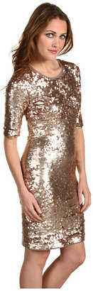 BCBGMAXAZRIA Marta 3/4 Sleeve Sequin Dress