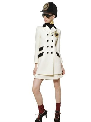 Moschino Embroidered Wool Heavy Crepe Coat