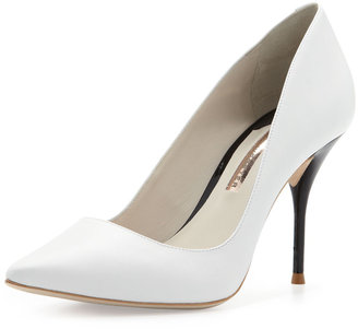 Webster Sophia Lola Contrast-Heel Point-Toe Pump, White/Black