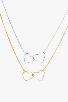 Silver & Gold Linked Hearts Necklace 2 Pack