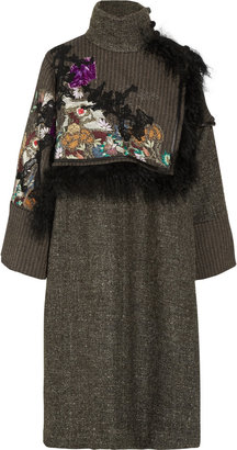 Etro Shearling-trimmed tweed wrap coat